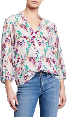 Saloni Chloe Floral Silk Button-Up Blouse