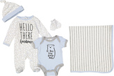 Baby Essentials White & Gray 'Hello There' Bodysuit Set - Infant