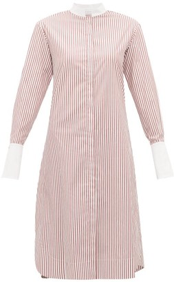 Marina Moscone Striped Cotton Tunic Shirt - Red White