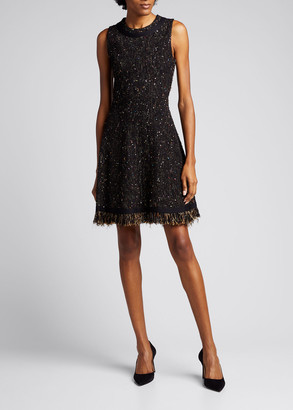 Oscar de la Renta Fringe-Trim Tweed A-Line Dress
