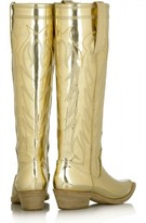 Givenchy excellent (EX Gold Leather Knee-High Cowboy Boots 36