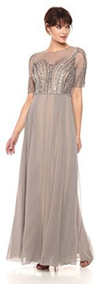 Adrianna Papell Women's Beaded Long Dress with Illusion Neck