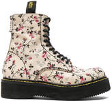R 13 Embroidered Leather Stack Boots