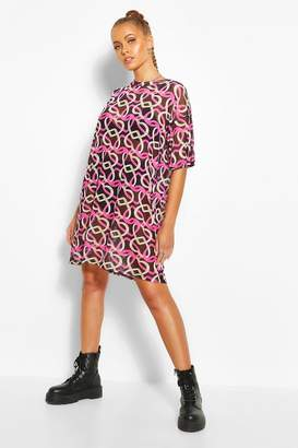 boohoo Heart Print Mesh T-shirt Dress