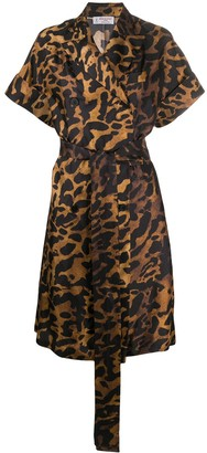 Alberto Biani Leopard Print Belted Dress