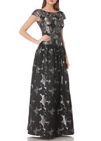 JS Collections Drop Waist Cap-sleeve Jacquard Ball Gown