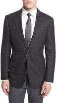 Armani Collezioni G-Line Large Plaid Wool Sport Coat, Black
