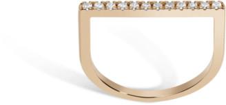 AUrate New York Diamond Bar Square Ring with White Diamonds