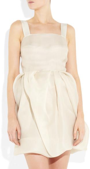Lanvin Bubble-skirt Silk-gazar Dress - Off-white