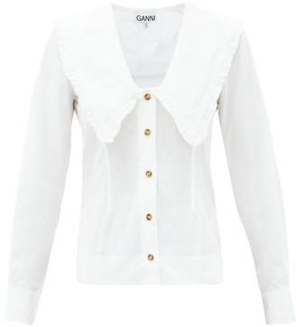 Ganni Peter Pan-collar Cotton-poplin Shirt - White