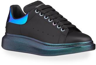 Alexander McQueen Men's Oversized Reflective Metallic Leather Sneakers