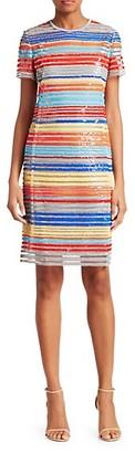 Akris Punto Striped Sequin Sheath Dress