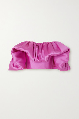 SOLACE London Margot Ruffled Off-the-shoulder Satin Top - Bright pink