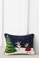 Lands' End 12 x 16 Needlepoint Ice Skaters Decorative Pillow