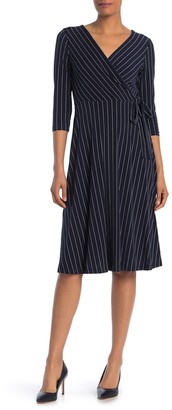 Calvin Klein Surplice Neck 3/4 Length Stripe Print Knit Dress