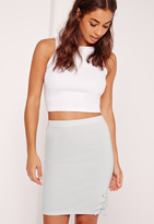 Missguided Lace Up Hem Mini Skirt Blue