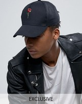 Reclaimed Vintage Inspired Baseball Cap With Rose Embroidery