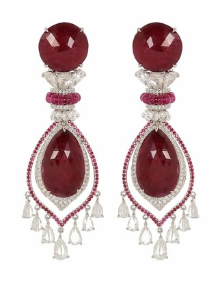 Fred Leighton Rose Cut Ruby and Diamond Earrings