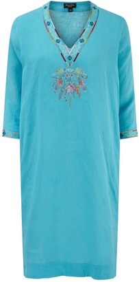 Nologo Chic Dream Catcher Embroidered Linen Tunic Dress -Turquoise