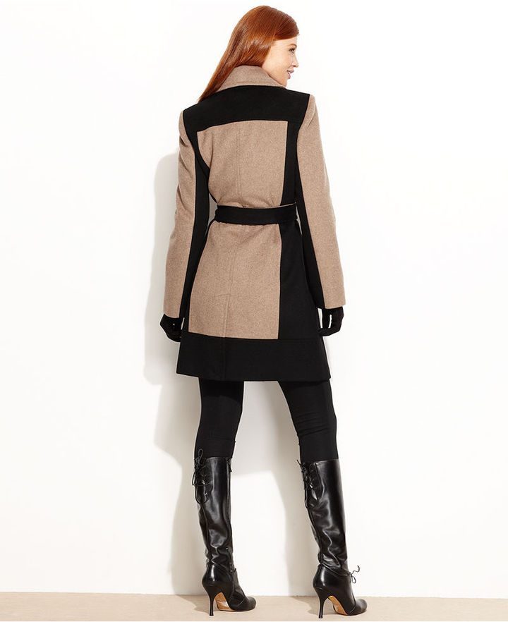 Calvin Klein Coat, Colorblock Wool-Blend Belted