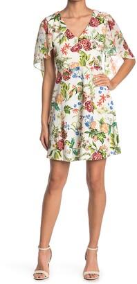 Tash + Sophie Flounce Sleeve Floral Mini Dress