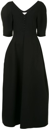 Jil Sander short-puff sleeves V-neck dress