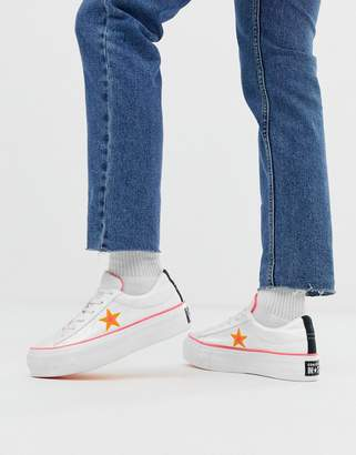 Converse all star white and orange platform trainers