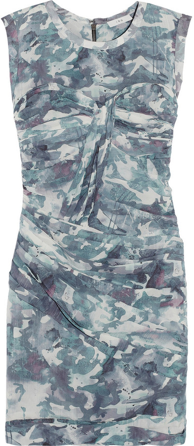 IRO Glenn camouflage-print stretch-silk dress