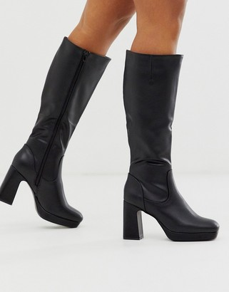 Truffle Collection platform knee high boot in black