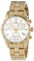 Timex Women's T2P058KW Ameritus Chronograph White Dial, Gold-Tone Stainless Steel Bracelet Watch
