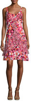 Michael Kors Ruffled Floral-Print Silk Slip Dress, Pink