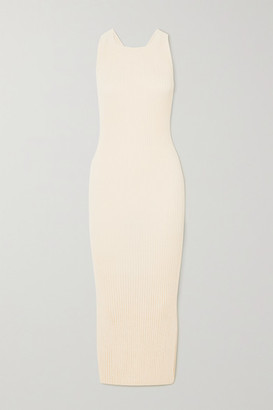 The Line By K Anais Open-back Ribbed-knit Midi Dress - White