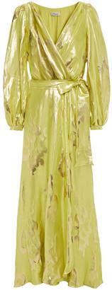 Temperley London Wrap-effect Metallic Silk-blend Jacquard Maxi Dress