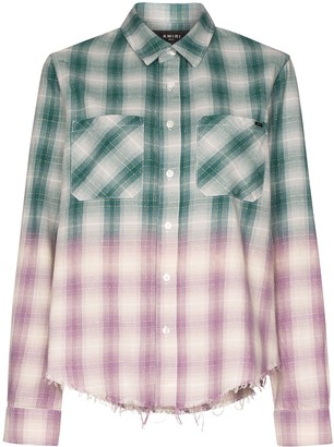 Amiri Raw Hem Check Ombre Shirt