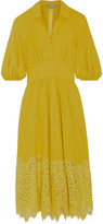Lela Rose Corded Lace-paneled Crepe Dress - Chartreuse