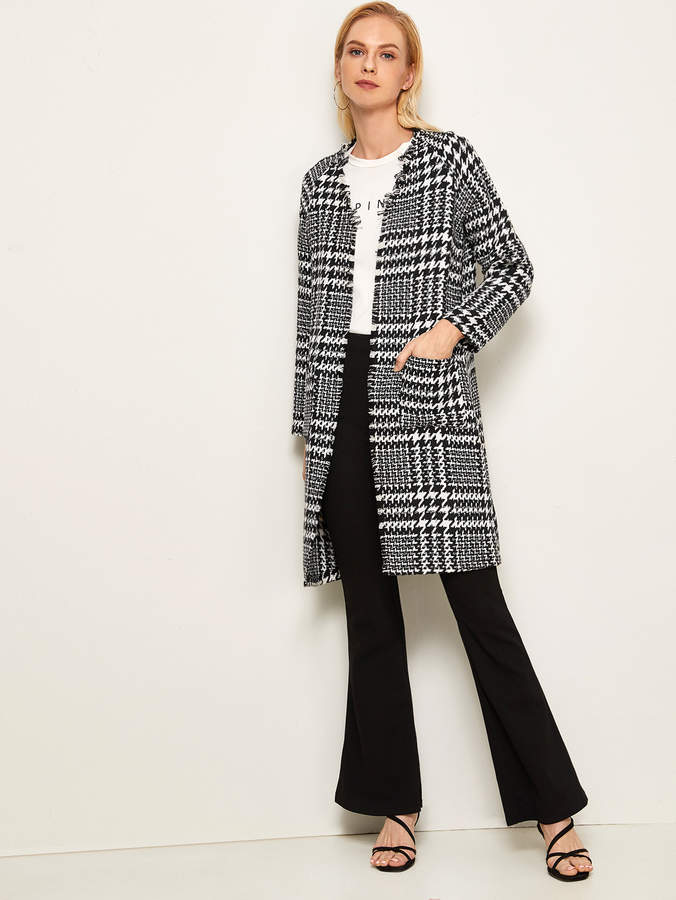 Shein Open Front Raw Trim Houndstooth Coat