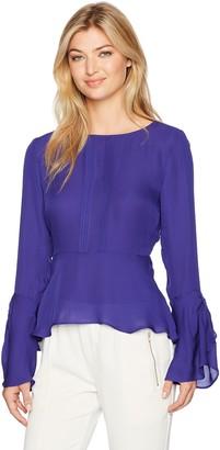 Nicole Miller Women's Solid Silk GGT Bell Sleeve Top