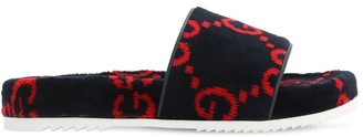Gucci All Over Logo Cotton Terry Sandals