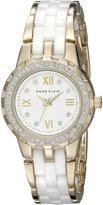 Anne Klein Women's 10/9456WTGB Swarovski Crystal Accented Gold-Tone and Ceramic Bracelet Watch