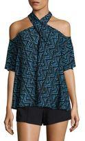 A.L.C. Kayley Cold-Shoulder Silk Top