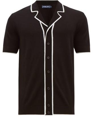 Frescobol Carioca Tipped Camp-collar Merino-wool Shirt - Mens - Black