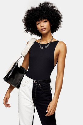 Topshop Womens Tall Black Scoop Back Bodysuit - Black