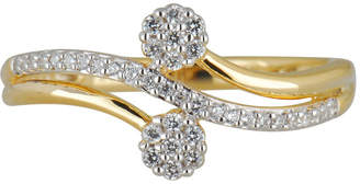 FINE JEWELRY Womens 1/5 CT. T.W. Genuine White Diamond 10K Gold Flower Cluster Cocktail Ring