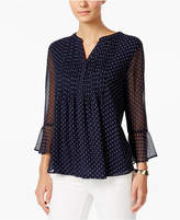 Charter Club Pleated Tiered-Sleeve Top, Only at Macy's