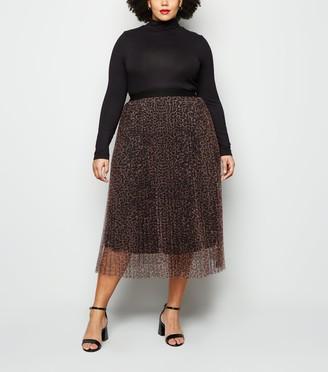New Look Curves Animal Print Pleated Skirt