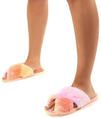 Public Desire Uk Mallow Lilac and Peach Fluffy Cross Strap Slippers