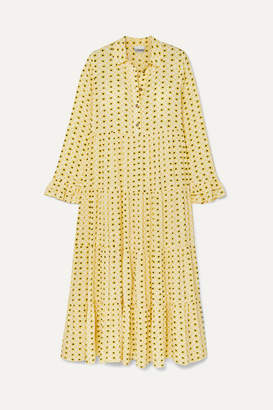 Ganni Floral-print Crepe Maxi Dress - Yellow