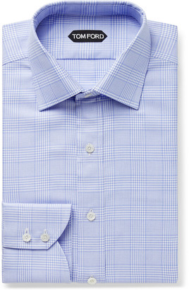Tom Ford Sky-Blue Slim-Fit Prince Of Wales Checked Cotton Shirt