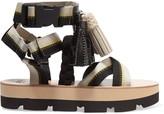MSGM Tasseled canvas platform sandals