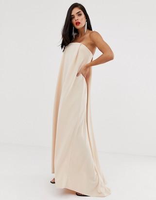 ASOS DESIGN strapless cape back maxi dress